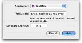 Key Bindings — TextMate 1 x Manual