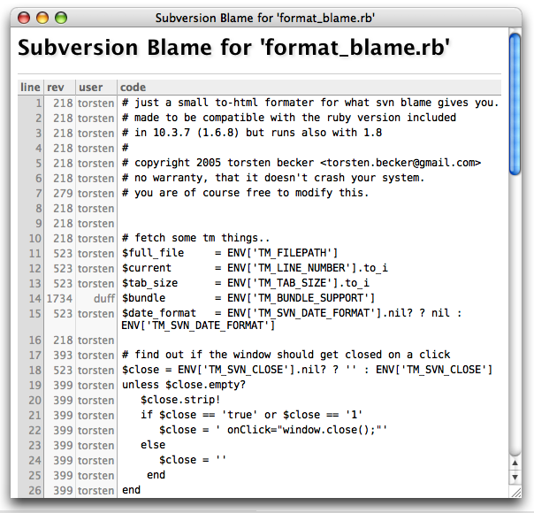 Subversion Blame Output