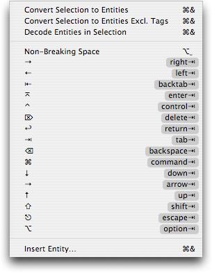 HTML Entities Menu